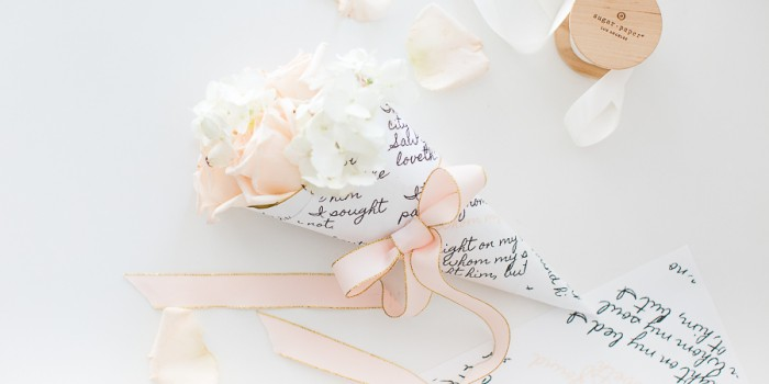 Valentine's day mini bouquet with printable wrap