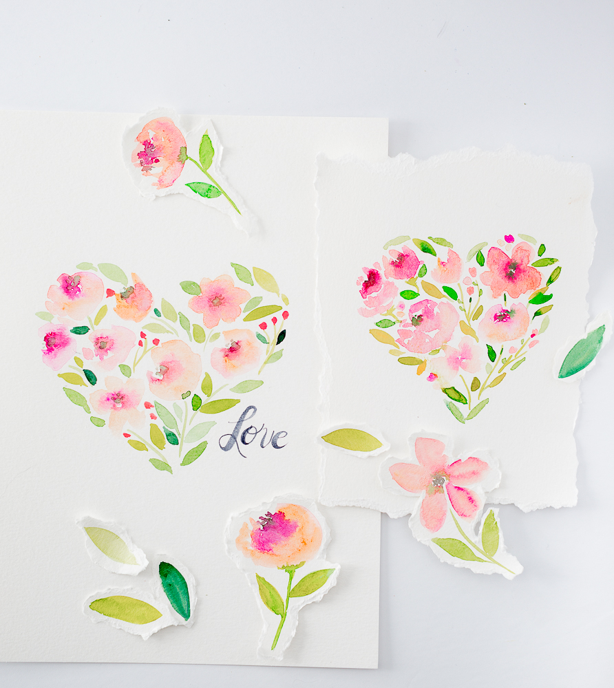 watercolorflowerheartprintablecraftberrybush