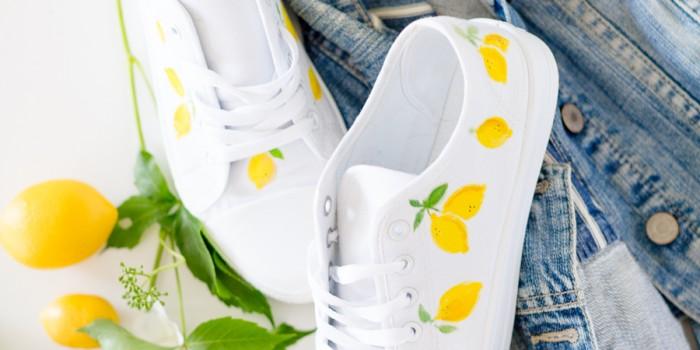 Lemon print shoes DIY – video