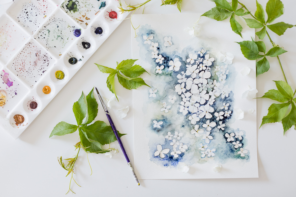 hydrangea watercolorcraftberry bush-2