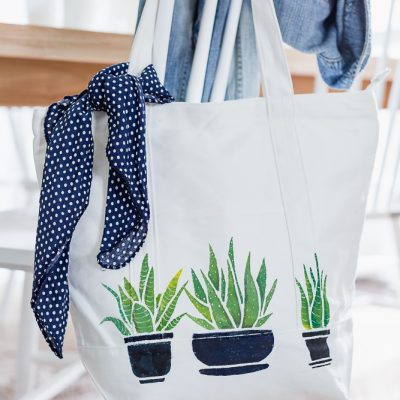 Succulent Painted Tote