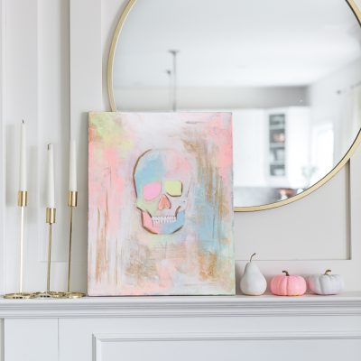 Pastel Skull Painting