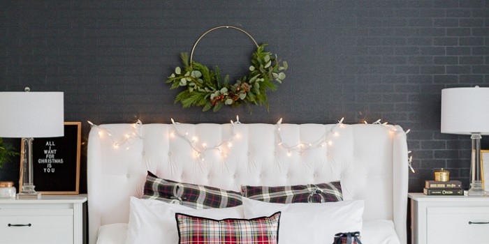 Modern Christmas Wreath DIY and New White Sheets