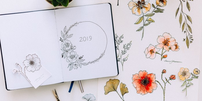 My first bullet journal, 2 free months of Skillshare Premium, and hand drawn flower printable stickers