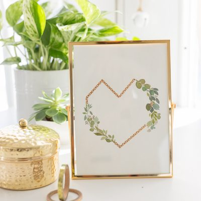 Geometric Watercolor Heart Wreath – a video and free printable
