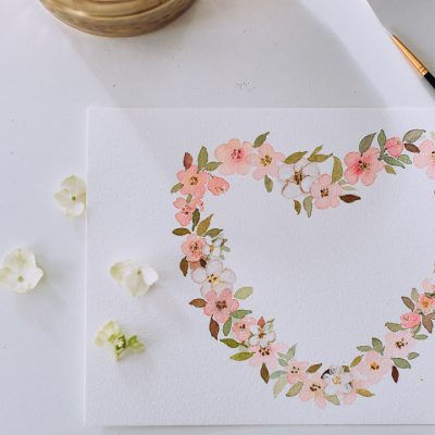 Cherry Blossom Heart Wreath – a video and free printable