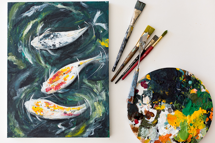 Koi in a pond acrylic painting