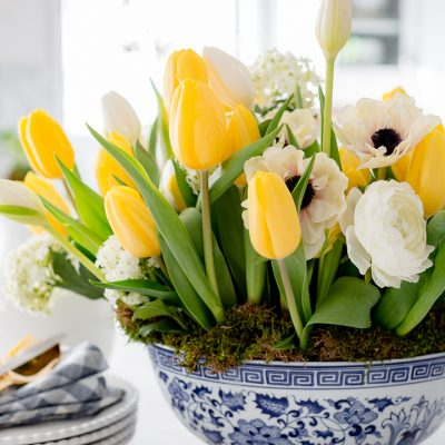 How to arrange tulips in a shallow bowl