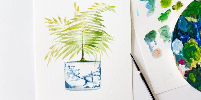 How to paint a palm leaf in a ginger jar – video