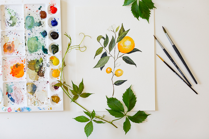 picture about Free Printable Watercolor Pictures to Paint called Watercolor Orange Department Portray Information with Absolutely free Printable
