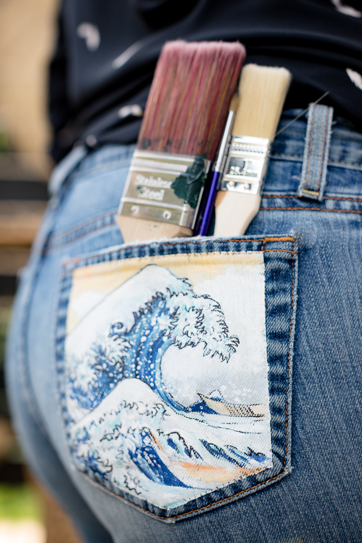 Jean Painted Pocket The Great Wave Off Kanagawa,Driveway Gate Designs