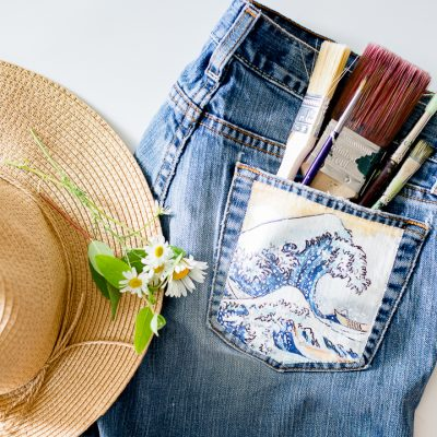 Jean Painted Pocket – The Great Wave off Kanagawa