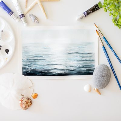 A video of how to paint  ocean water with watercolor and a free printable