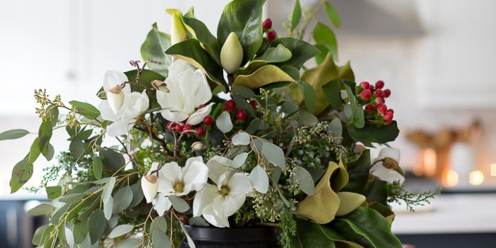 Eucalyptus and Magnolia Christmas Arrangement