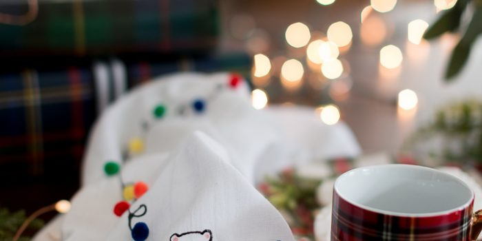 Pom pom string light tea towel