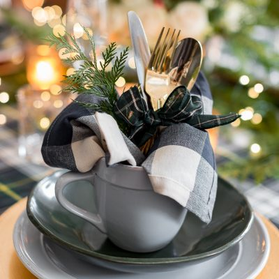 Green and and Plaid Christmas Tablescape