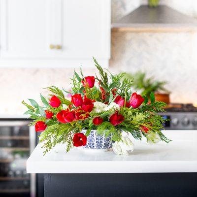 Easy Christmas Tulip Arrangement