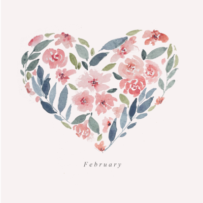 February Watercolor Wallpaper Calendar