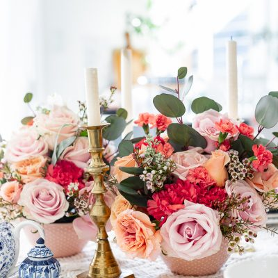 Spring tablescape using grocery store roses
