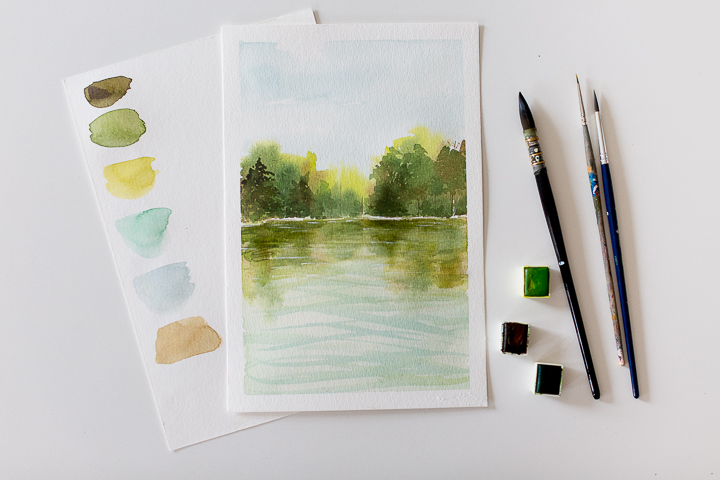 Water and Tree reflection With Watercolor