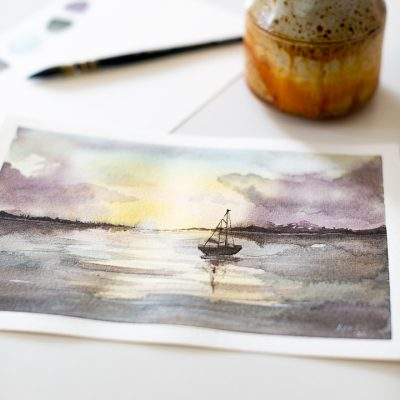 How to paint a sunset over water with watercolor