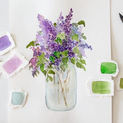 How to paint lilacs with watercolor and a free printable