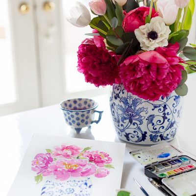 Watercolor Peonies in Ginger Jar Tutorial and Free Printable