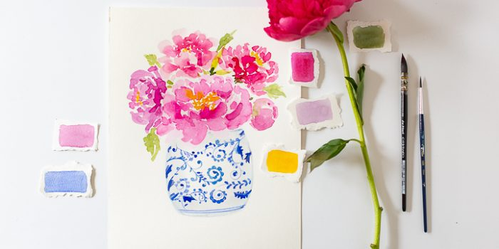 Watercolor Peonies in Ginger Jar Printable