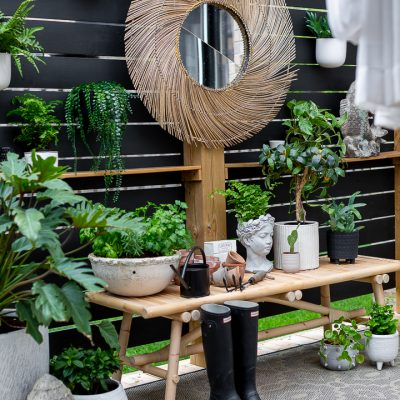 Outdoor Garden Bench Vignette