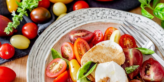 Simple Burrata and tomato salad