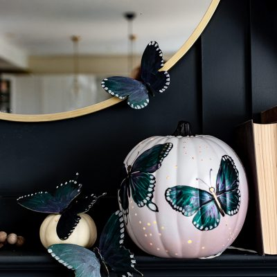 Painted Butterfly Pumpkin Luminary