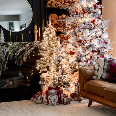 White and Burgundy Flocked Christmas Tree