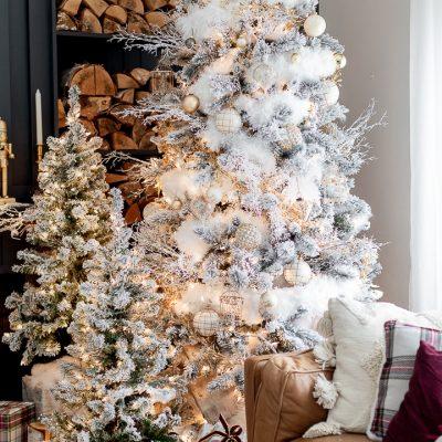 Snowy Golden Christmas Tree