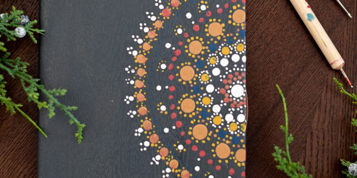 Hand Painted Dot Art Mandala Notebook