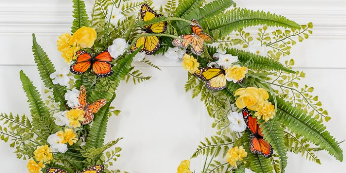 Spring Flowers and Monarch Butterfly Wreath