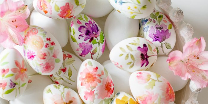 Watercolor Flowers Hand Painted Easter Eggs