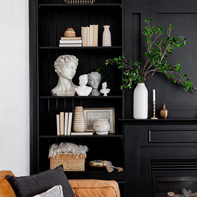 Black Built-ins Shelf Styling